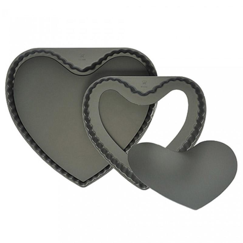 Molde tartaleta acanalado antiaherente Fondo removible (Corazón)